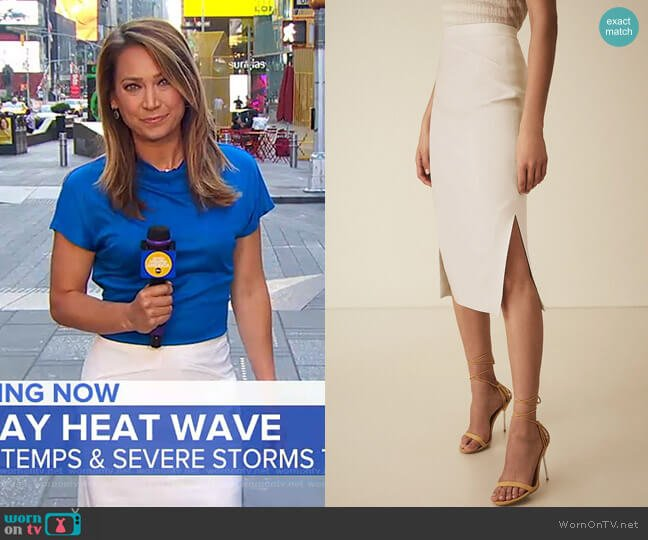 Roxanne Skirt by Reiss worn by Ginger Zee  on Good Morning America