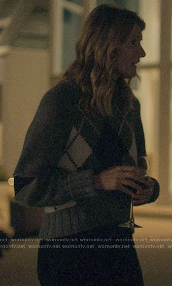 Renata's grey argyle sweater on Big Little Lies
