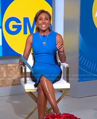 Robin's blue and black colorblock dress on Good Morning America