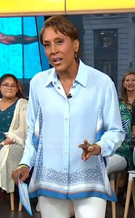 Robin's blue handkerchief hem shirt on Good Morning America
