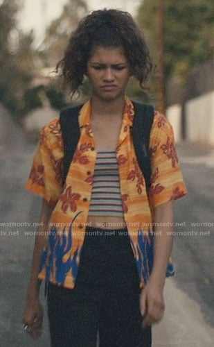 Rue's orange floral and flame print shirt on Euphoria