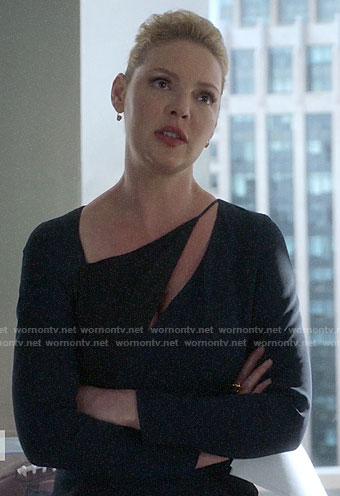 Samantha's black asymmetric dress on Suits