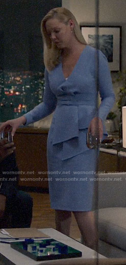 Samantha's blue draped peplum dress on Suits