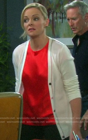 Belle's white contrasting trim cardigan on Days of our Lives