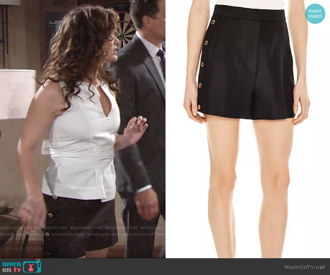 Sandro Alon Snap Detail Shorts worn by Chelsea Lawson (Melissa Claire Egan) on The Young & the Restless