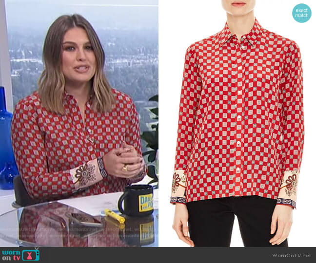 Nella Shirt by Sandro worn by Carissa Loethen Culiner  on E! News