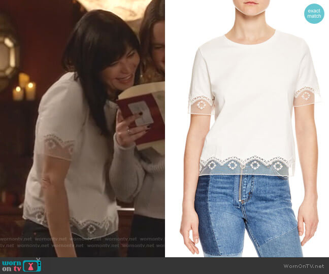 Lace Trim Tee by Sandro worn by Cassandra Nightingale (Catherine Bell) on Good Witch