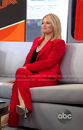Sara's red blazer and front slit pants on GMA Strahan And Sara