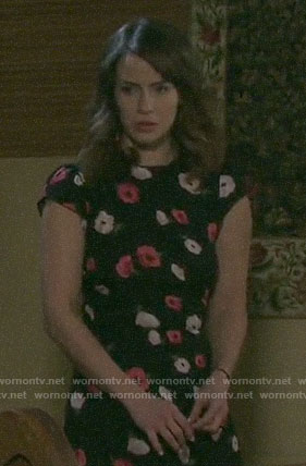 Sarah's floral cap-sleeve dress on Days of our Lives