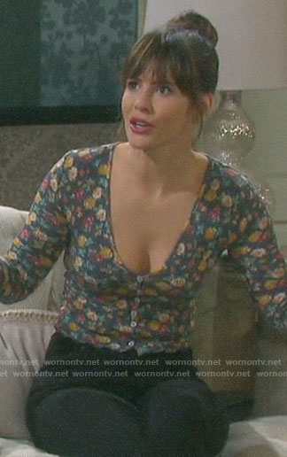 Sarah's grey floral top on Days of our Lives