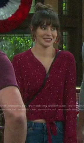 Sarah's red polka dot tie front top on Days of our Lives