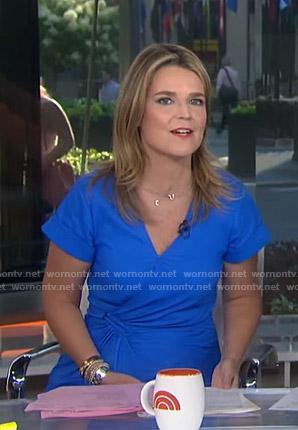 Savannah's blue short sleeve wrap dress on Today