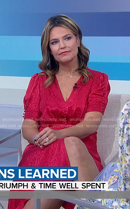 Savannah's red button front v-neck dress on Today