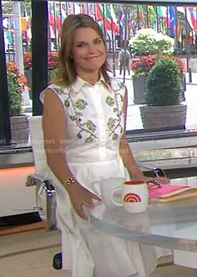 Savannah's white embroidered shirtdress on Today