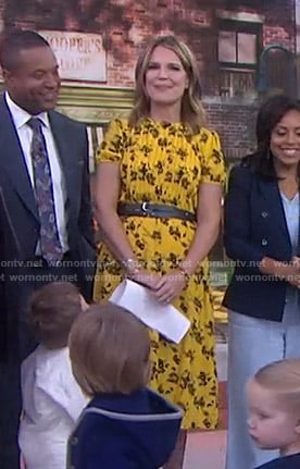 Savannah's yellow floral pintuck dress on Today