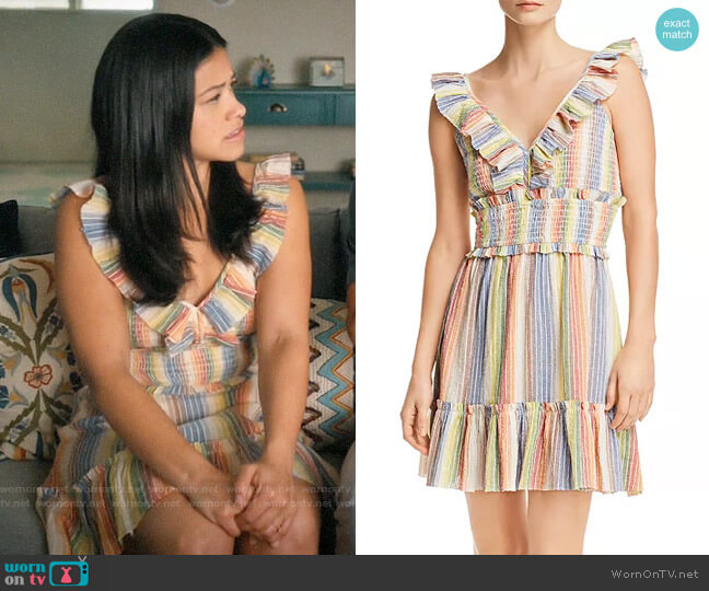 Saylor Rainbow-Stripe Smocked Gauze Dress worn by Jane Villanueva (Gina Rodriguez) on Jane the Virgin