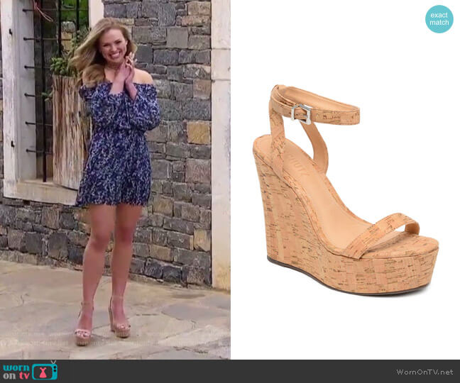 Eduarda Platform Wedge Sandal by Schutz worn by Hannah Brown  on The Bachelorette