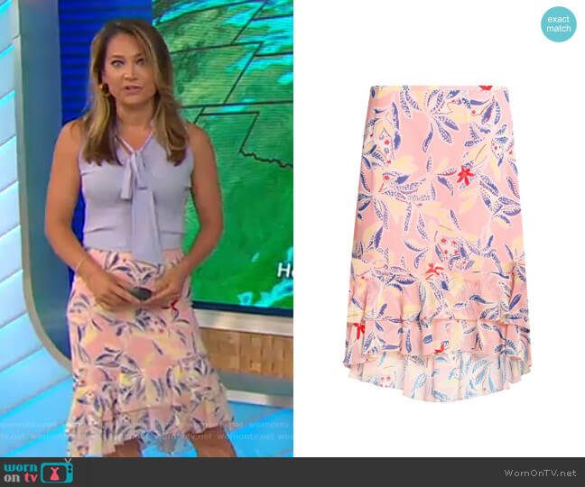 Asymmetric Ruffle-Trimmed Floral-Print Skirt by See by Chloe worn by Ginger Zee  on Good Morning America