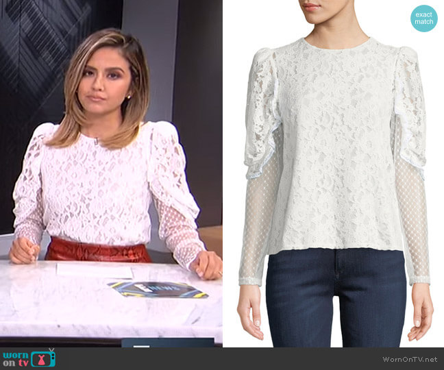 Lace Sheer Sleeve Blouse by See by Chloe worn by Erin Lim  on E! News