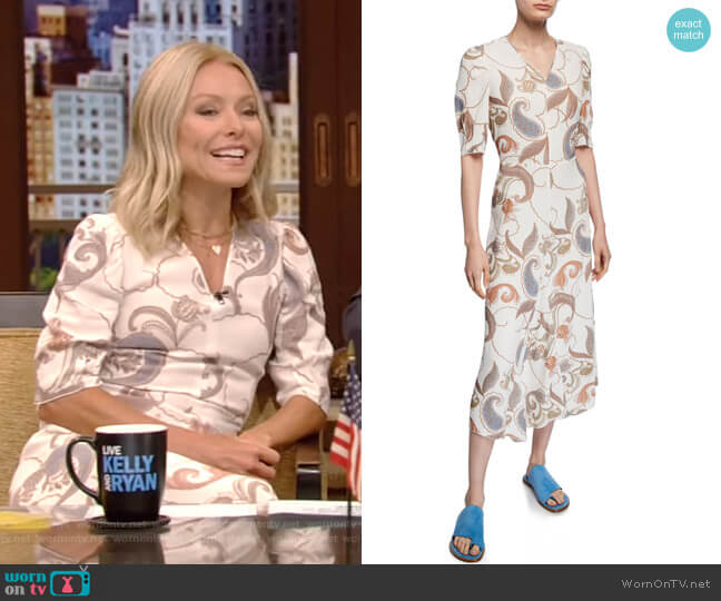 Paisley-Print Short-Sleeve Asymmetrical Midi Dress by See by Chloe worn by Kelly Ripa  on Live with Kelly & Ryan