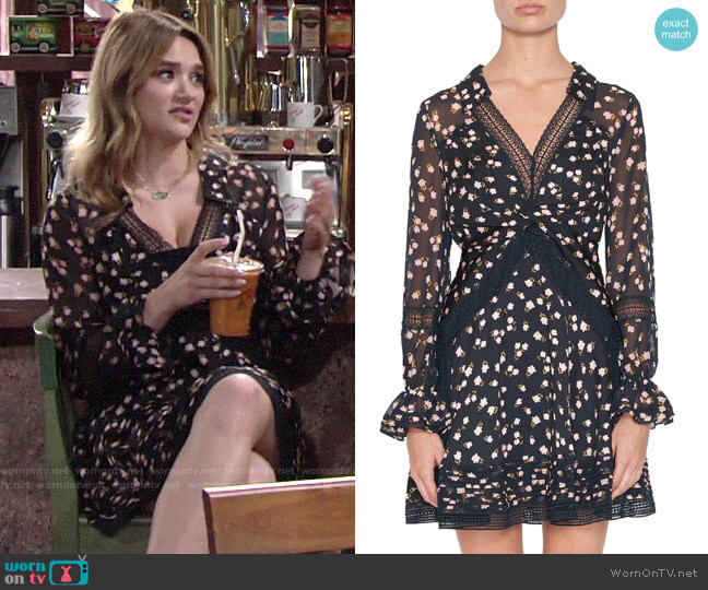 Self Portrait Twist-Front Ditsy Mini Dress worn by Summer Newman (Hunter King) on The Young & the Restless