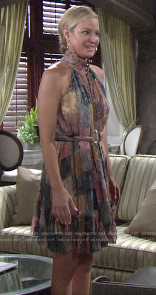 Sharon's patchwork print dress on The Young and the Restless