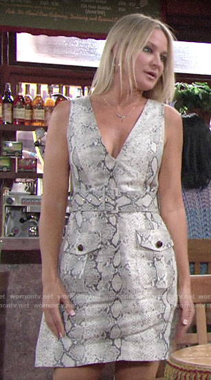 Sharon's snake print dress on The Young and the Restless