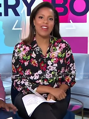 Sheinelle's black floral blouse on Today