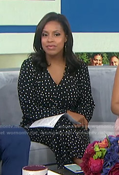Sheinelle's black polka dot jumpsuit on Today