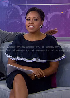 Sheinelle's navy ruffled dress on Today
