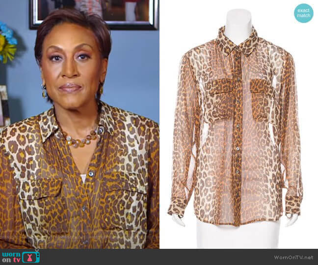 Silk Leopard Top by Equipment worn by Robin Roberts  on Good Morning America