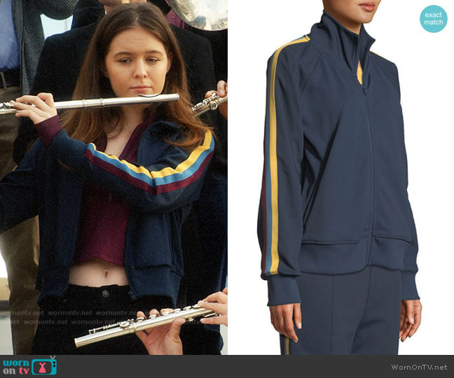 Spiritual Gangster Side-Stripe Zip-Front Track Jacket worn by Matty Ross (Izabela Vidovic) on Veronica Mars