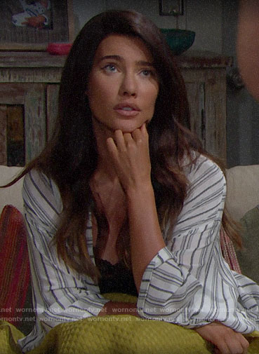 Steffy's striped robe on The Bold and the Beautiful