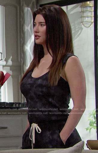 Steffy's tie dye jumpsuit on The Bold and the Beautiful
