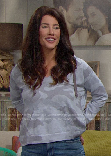 Steffy's grey camo hoodie on The Bold and the Beautiful