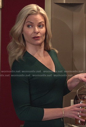 Stephanie's green ribbed v-neck dress on Good Witch
