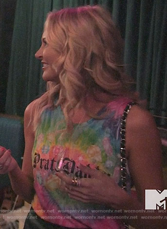 Stephanie's tie dye Pratt Daddy tank top on The Hills New Beginnings