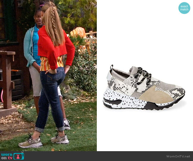 Steve Madden Cliff Sneaker in Natural Snake worn by Ava (Shelby Simmons) on Bunkd