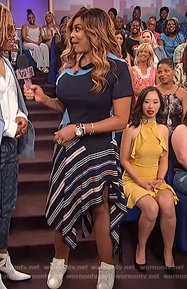 Wendy's blue asymmetric striped dress on The Wendy Williams Show