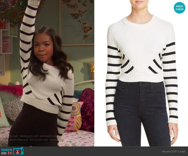 Striped Crop Sweater by T by Alexander Wang worn by Nia Baxter (Navia Robinson) on Ravens Home