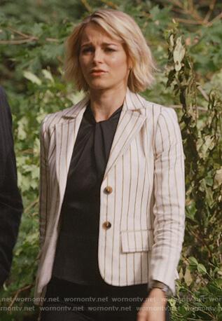 Lizzie's striped cropped blazer on Instinct