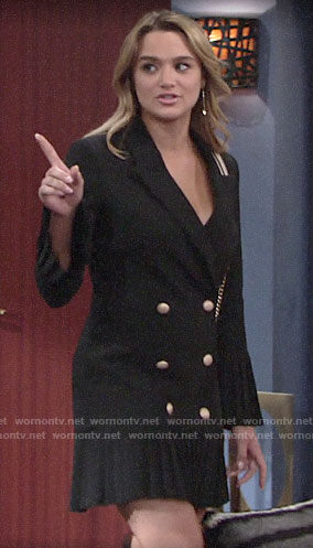 Summer's black pleated blazer dress on The Young and the Restless