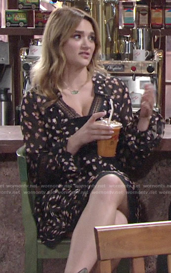 Summer's navy floral lace-trim dress on The Young and the Restless