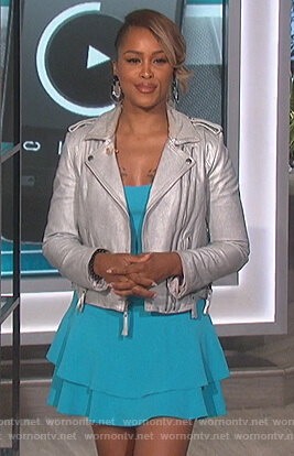 Eve's blue ruffle mini dress and metallic jacket on The Talk