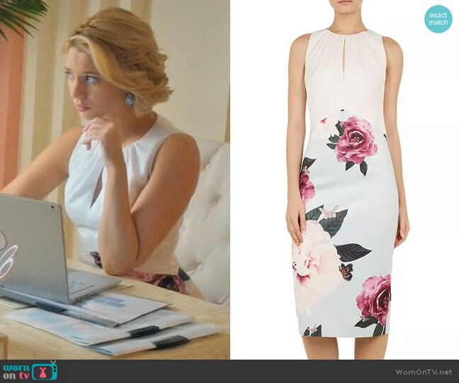 Ted Baker Annile Magnificent-Print Dress worn by Petra Solano (Yael Grobglas) on Jane the Virgin
