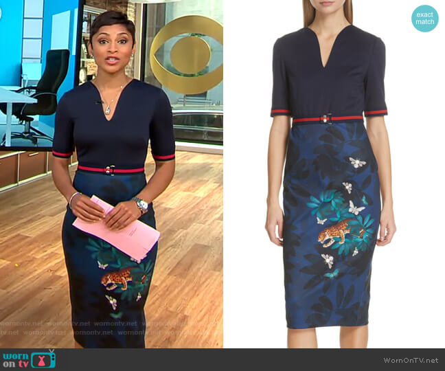 Yalila Houdini Sheath Dress by Ted Baker worn by Jericka Duncan on CBS This Morning