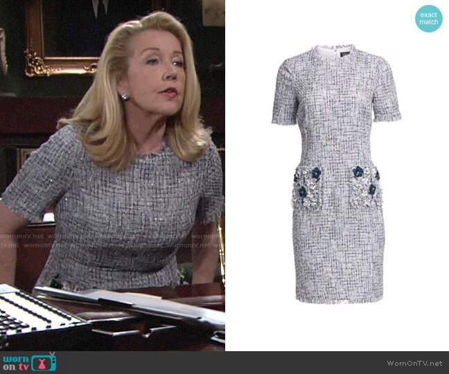 Teri Jon by Rickie Freeman Tweed Beaded Appliqué Sheath Dress worn by Nikki Reed Newman (Melody Thomas-Scott) on The Young & the Restless