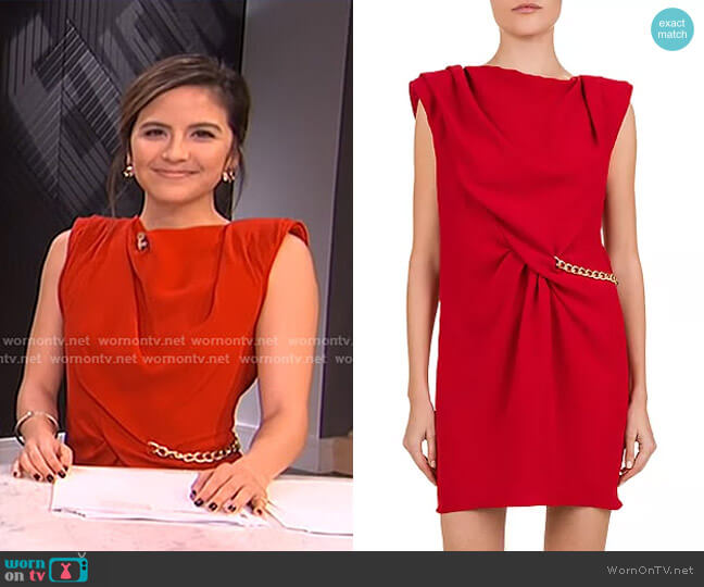 Gathered Crepe & Chain Trim Dress by The Kooples worn by Erin Lim  on E! News