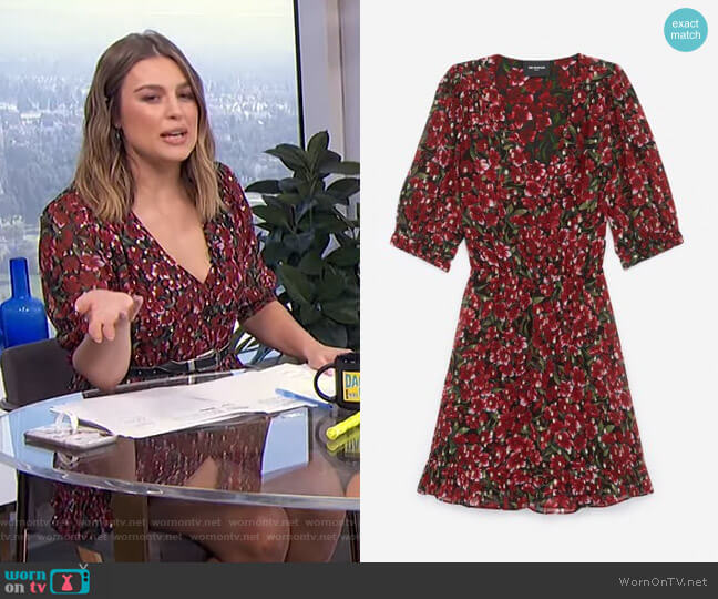 Printed Dress with Shoulder Pads by The Kooples worn by Carissa Loethen Culiner  on E! News