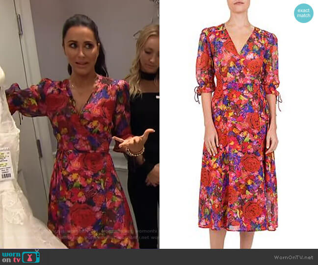 Summer Night Floral-Print Silk Wrap Dress by The Kooples worn by Jessica Mulroney on GMA